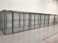 Cage with ceiling and sliding door