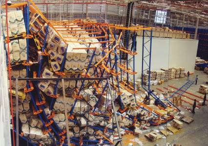 Example of unsound pallet racking