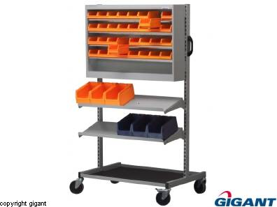 Tool Trolley with Cabinet and Shelves