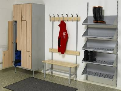 Lockers with bench and shoes shelf