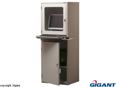 Computer terminal cabinet grey