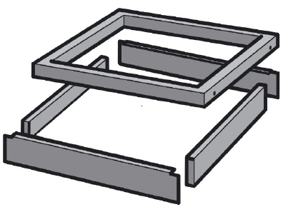 Base for Tool Drawer Unit 717 x 725 mm, Grey