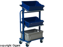 Bin trolley with tilting shelves